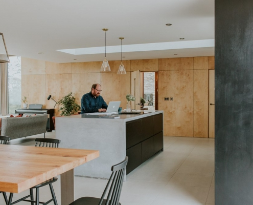 Contemporary plywood cladding house Northern Ireland